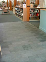 Slate flooring with engraved type